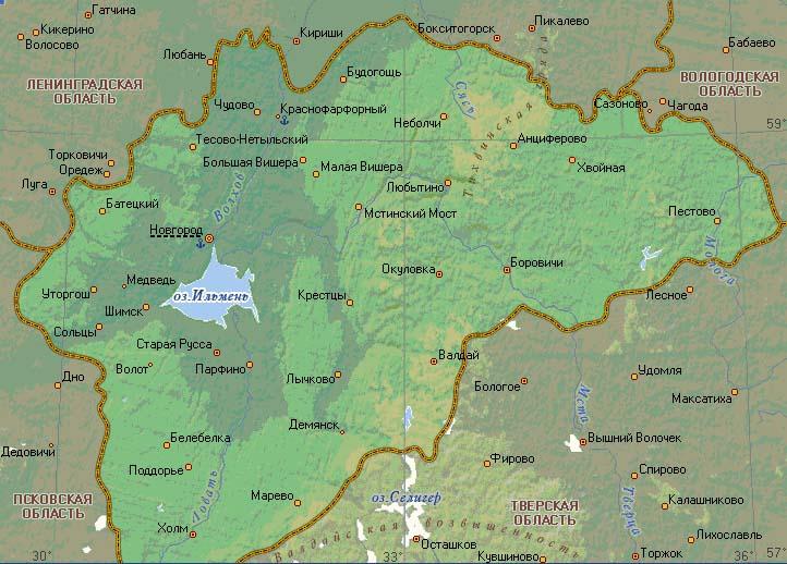 Карта озера Ильмень